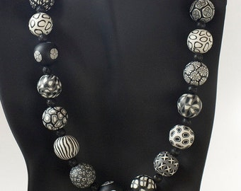 Black and White Clay Beaded Necklace