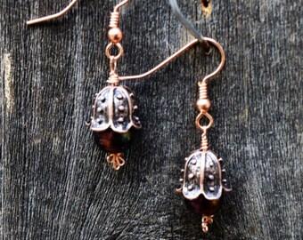 Copper Flower Bud Earrings, Copper Earrings, Bud Earrings, Flower Earrings, Dangle Earrings, Copper Jewelry