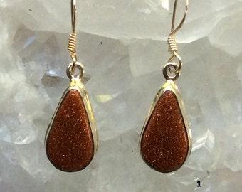 Dainty Goldstone Sterling Silver Earrings | Last Ones