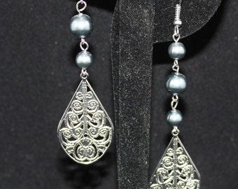silver and gray drop earrings; drop earrings; silver drop earrings; gray round bead earrings; gray drop earrings; silver tone wire work