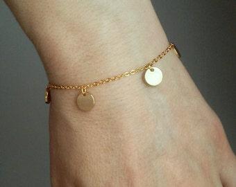 Round Tags Bracelet / Multi Disks Bracelet / Mini Circle Pendant / Initial Jewelry / Initial Disk Bracelet / Minimal Jewelry / 8mm // B429