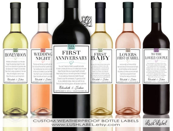 First Wine Labels Unique Wedding Gift Celebrating Marriage Firsts ...