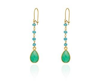 Gold earrings green drops, aqua chalcedony beads, gemstone drops earrings, green earrings, chalcedony earrings