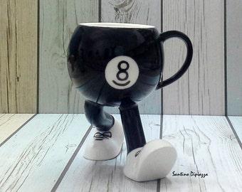 8 Ball Pool Coffee Mug - Tea Cup - Walking Cup - Pool Player Gift - Unique Coffee Mug - Hand-made Mugs - Hand-painted Mug - Walking Pottery