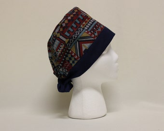 Southwest Woven Style Navy Surgical Scrub Cap Chemo Dental Hat