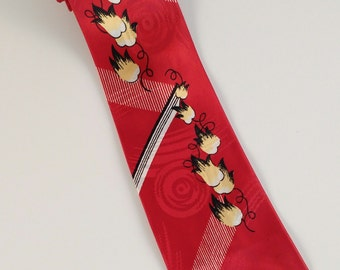 Vintage 40s Tie, Mens Swing Tie, Red, Yellow, Black, White, Floral, Rayon, Mid Century, Jacquard Weave, Mens Vintage Ties, Bright!