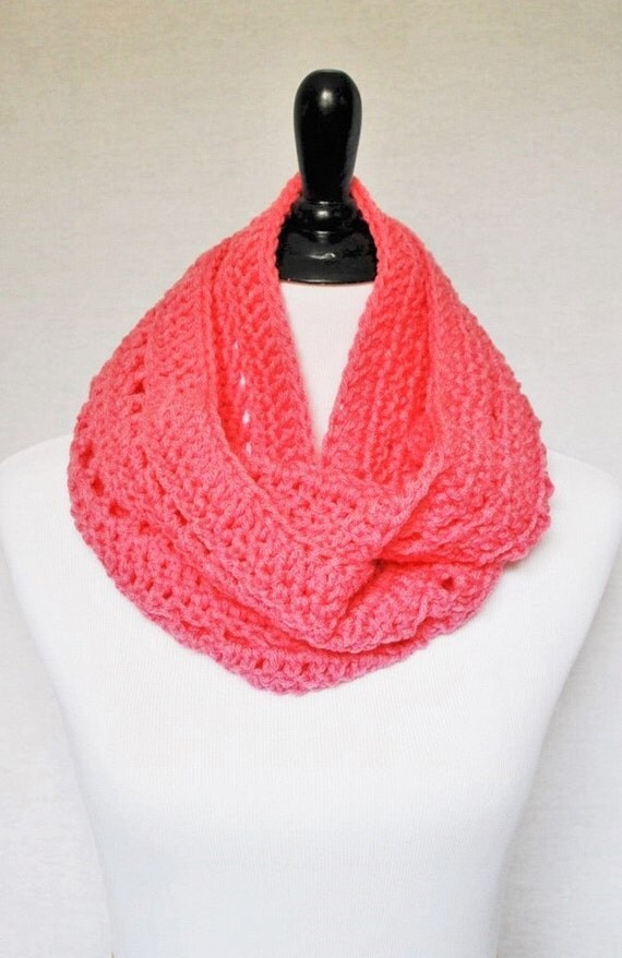 Pink Infinity Scarf, Crochet Cowl, Lacy Neck Warmer, Wrap Scarf - Bright, Light Pink, Candy Pink
