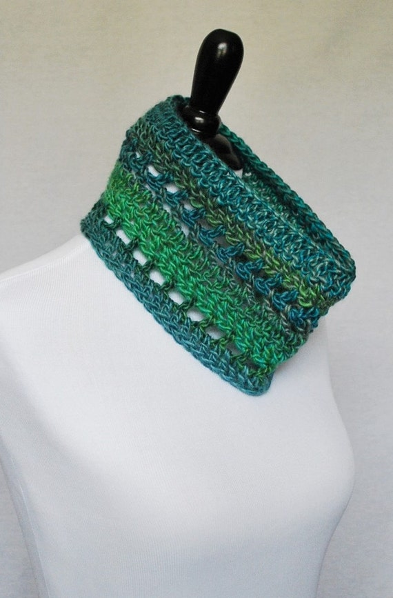 Blue Green Crochet Cowl, Short Infinity Scarf, Lacy Neck Warmer