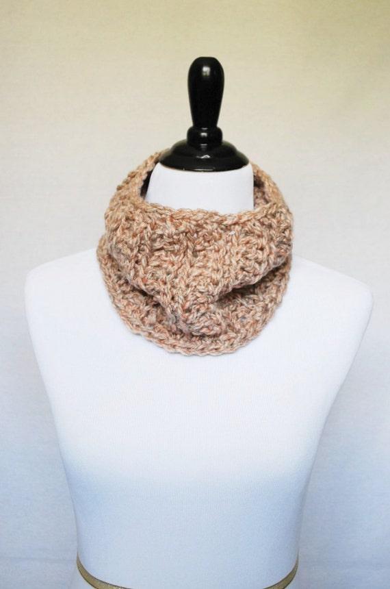 SALE! Beige Crochet Cowl, Soft Neck Warmer, Short Infinity Scarf - Neutral Tan, Oatmeal