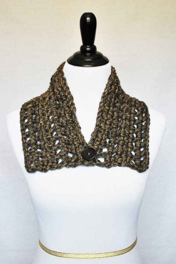 Brown Tweed Button Cowl, Crochet Wrap Scarf, Neck Warmer, Button Infinity Scarf, Lacy Crochet Cowl, Crochet Collar Scarf - Taupe, Dark Brown