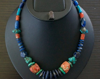 Fascinating TURQUOISE CORAL LAPIS Lazuli Silver Necklace