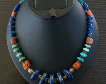 High Class TURQUOISE CORAL LAPIS Lazuli Silver Necklace