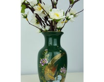 Vintage Japanese Bud Vase Forest Green, Japanese Vase Emerald Green Peakcock, Small Dark Green Vase, Emerald Green Gold Vintage Home Decor