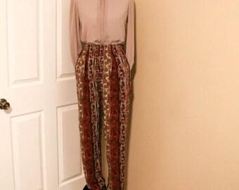 90s Printed Stripe Floral Pants