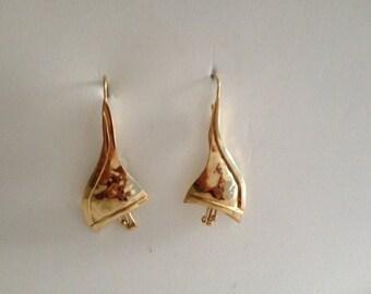 Vermeil long pod drop earrings