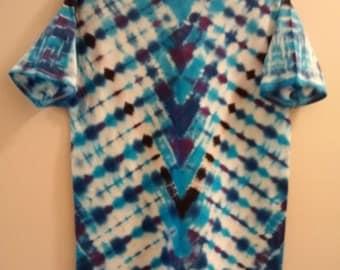 Tie-Dyed T-Shirt, Aqua/Black/Plum, Men's Medium