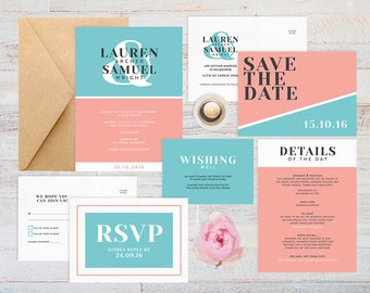 Modern wedding invitation set printable