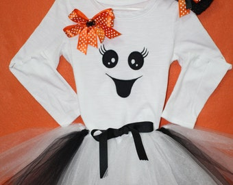 Girl Halloween Ghost outfit, Girls Halloween costume,Baby girl ghost costume,Halloween Headband, Halloween tutu,Casper the friendly ghost