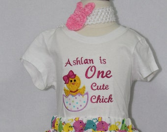 Baby girl easter shirt, Easter bodysuit for baby girls, Easter dress. Personalized Easter shirt, Personalized Easter bodysuit.One cute chick