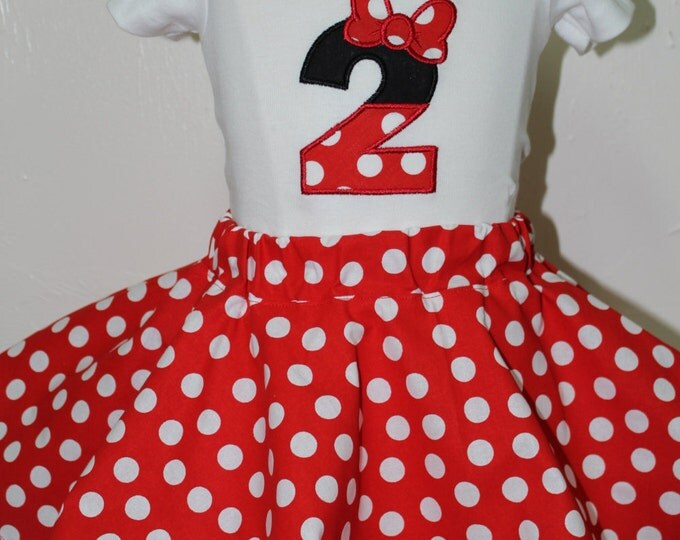 Featured listing image: Minnie Mouse birthday outfit, Red and White,Girl 2nd birthday outfit, Girls second birthday outfit,Red polka dot skirt,Minnie birthday shirt