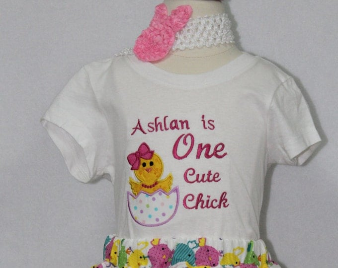 Baby girl easter shirt, Easter bodysuit for baby girls, Easter dress. Personalized Easter shirt, Personalized Easter bodysuit.One cute chick