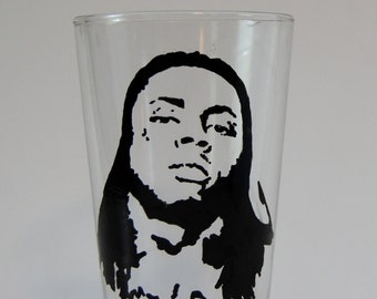 Lil Wayne Beer Glass Hip Hop Artist Rapper 16 oz Pint Glass