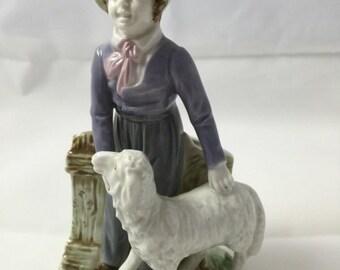 Antique Majolica Pottery Figurine Vase Bisque Porcelain 19th century Spill Vase Lamb Home Decor