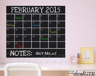 """Chalkboard Wall Calendar Decal - with 22"""" or 27"""" or 34""""- Black Chalk Board Calendar Vinyl Sticker - C033"""