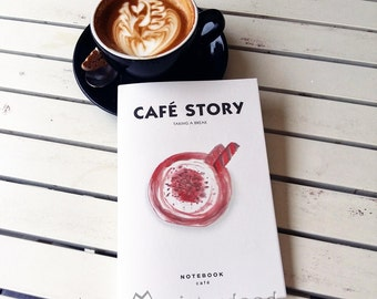 CUSTOM TEXT Journal, Coffee Notebook, Misterdood Cafe Hopper Teatime Cup Chocolate Mocha Drawings, Minimalist White Blank Pages Cute Diary