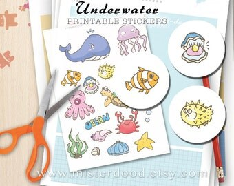 UNDERWATER Printable Sticker, Cute Mini Doodle Ocean Sea World Clipart, Diary Planner Journal Notebook, Fish Nemo Aquarium, Kids Ideal Gift