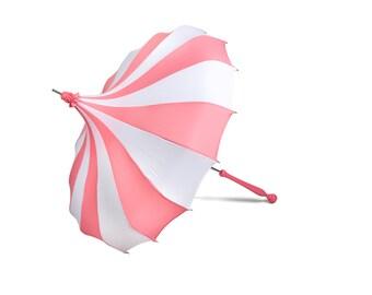 Pink & White Bella Umbrella Pagoda Umbrella – Rain or Shine Parasol