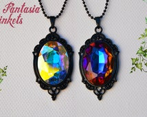 Color Shifting Czech Crystal Jewel on a Black Pendant Necklace - Medieval Fantasy Jewelry