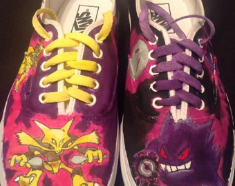 Custom Painted Pokemon Alakazam vs Gengar Shoes