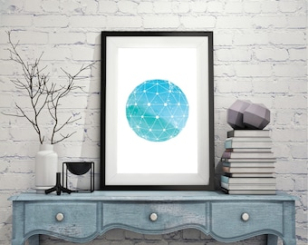 Minimalist Print, Geometric Art Print, Geometric Art Poster, Sacred Geometry Art, Zen Art, Minimalist Poster, Boho Art, Turquoise Print