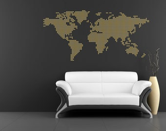 World map wall vinyl metallic gold or silver map of the world map pixel art wall vinyl metallic gold or silver pixel map of the world gumiabroncs Choice Image