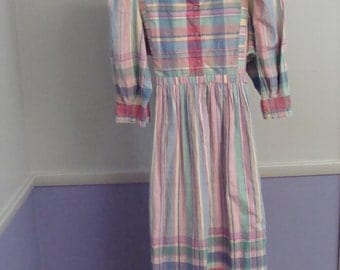 Vintage Dress 70's Madras Plaid Peasant Puff Sleeve Colorful Tie Back Bow Belt Matti Size 10 Cotton Made in India