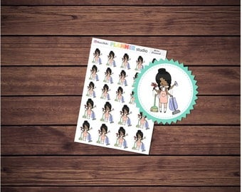 Housework Cleaning Chores Mi'Me  Kawaii Chibi Girl African American Planner Stickers - Erin Condren Life Planner, Happy Planner & Filofax