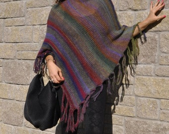 Poncho/ Knitted Women's Poncho /Sweater /Wrap/ 100% Handmade Gift For Her/Wildflowers