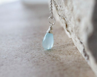 AAA Chalcedony Pendant - Sterling Silver Wire Wrapped Dangle Charm Briolette - Genuine Aqua Blue Chalcedony Gemstone - Necklace Jewelry