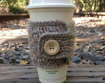 Crochet Travel Mug Cozy - Oatmeal