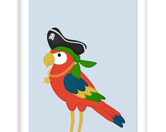Poster Pirate Parrot | Nautical  Poster | Wall Art Children+ Nursery | fresh + clear   |   Modern Scandinavian Style
