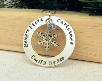 Baby's First Christmas Ornament - Hand Stamped - Snowflake Charm - Washer