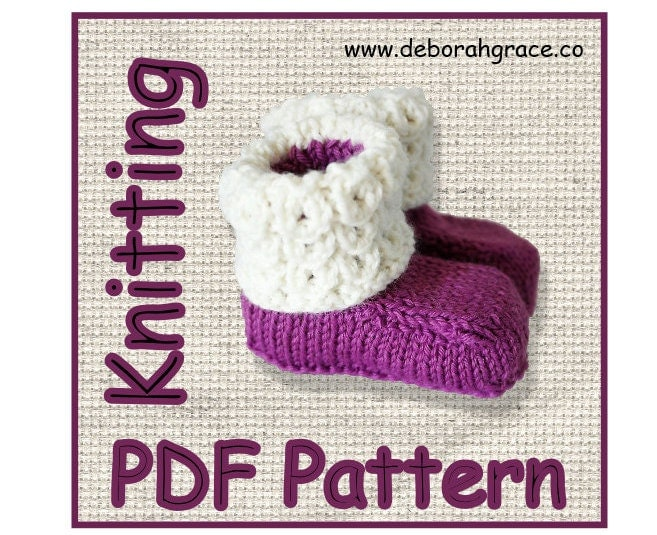 Girls Knitted Hat Pattern : Baby Booties knitting pattern Pdf didital download Ugg