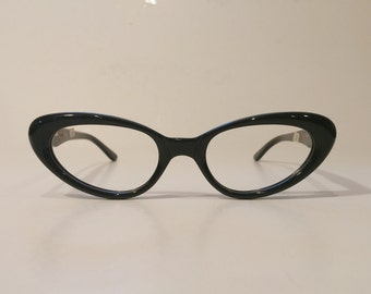 Vintage 1950's & 1960's Black Cateye Eyeglass Frames by Safilo, New Old Stock, Made in Italy