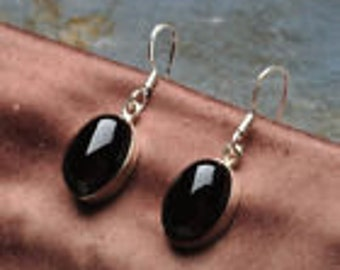 Lowered Price Classic Simplicity Genuine Onyx Earrings Sterling Silver