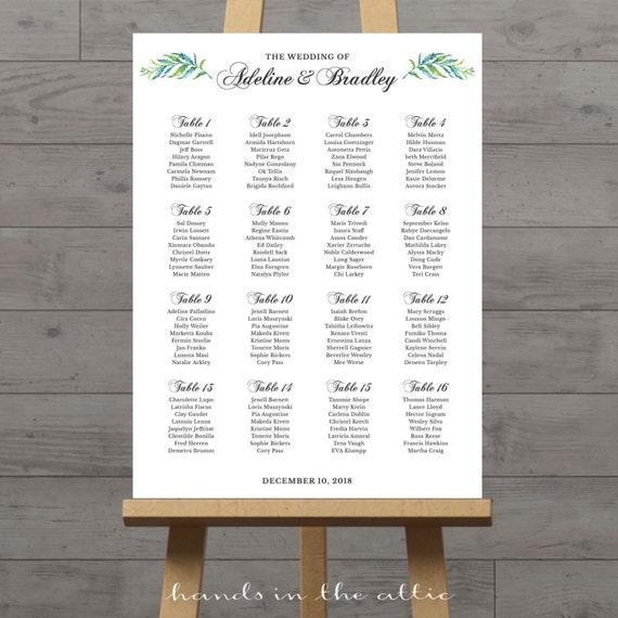 Debenhams Wedding Service Gift List Number: Wedding Ceremony Seating Chart, Large Portrait Elegant
