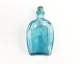 Vintage Miniature Blue Glass Horseshoe Bitters Bottle