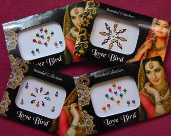 47 bindis - 4 bindi packs designer bollywood bindis / belly dance bindis / bindi stckers, body art tattoos