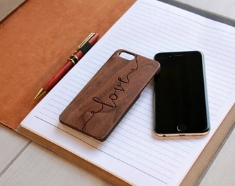 Personalized Iphone 6 case, Custom Iphone 6 case, Wood Iphone 6 case, Laser Engraved Iphone 6 case, Walnut --IP6-WAL-love ip6w
