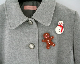 Gingerbread Man Pin * Needle Felt * Handmade * Brooch * Tie Tack * Lapel Pin * Hat Pin * Christmas *